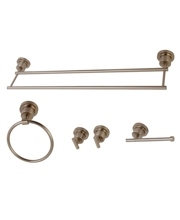 Kingston Brass - Concord Dual-Towel Bar 5-Pc. Bathroom Accessory Set in Brushed Nickel