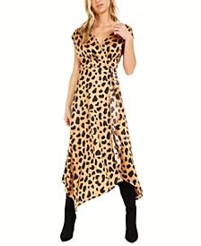 Becca Tilley X Leopard-Print Handkerchief Hem Dress, Created for Macy's