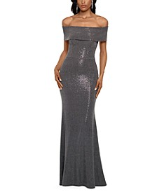 Off-The-Shoulder Metallic-Finish Gown