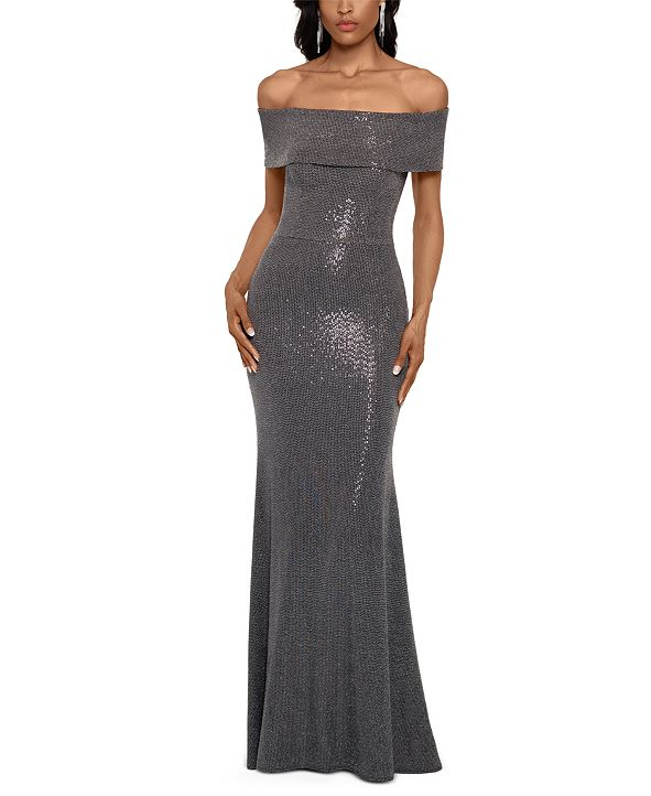 Betsy & Adam Off-The-Shoulder Metallic-Finish Gown