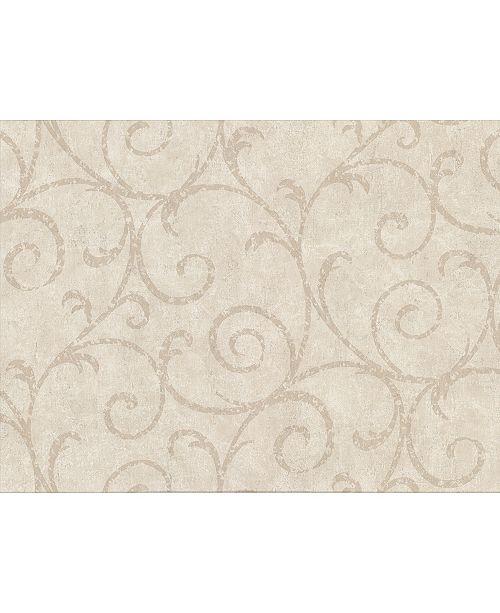 "Warner Textures 27"" x 324"" Sansa Plaster Scroll Wallpaper"