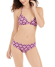 Flowerspade Printed Scalloped French Bikini Top & Hipster Bottoms