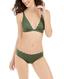Scallop Wave Solid French Bikini Top & Hipster Bottoms