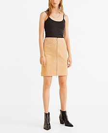 Mango Leather Miniskirt