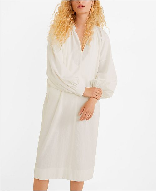 MANGO Puffed Sleeves Cotton Dress