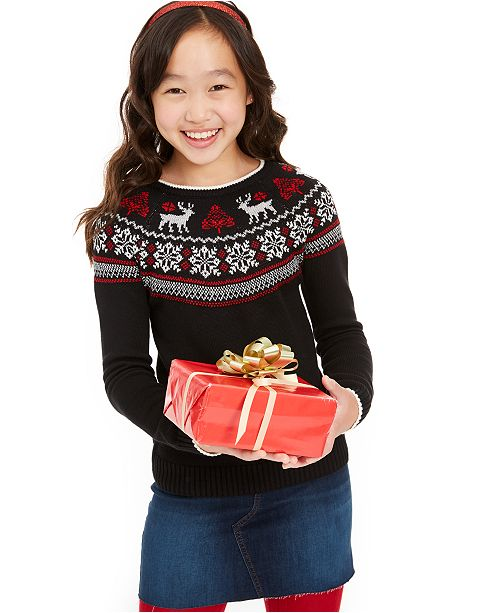Charter Club Big Girls Fair Isle Family Sweater, Created For Macy's