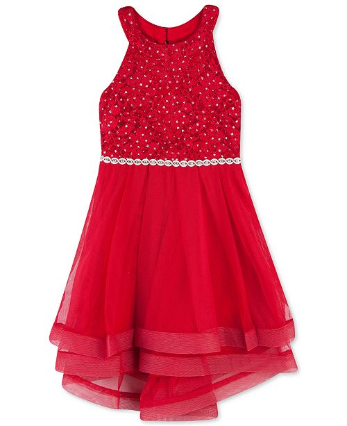 Speechless Little Girls Lace Crinoline-Trim Dress