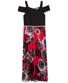 Speechless Big Girls Pleated Cold-Shoulder Maxi Dress