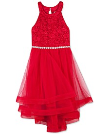 Big Girls Lace Crinoline-Trim Dress