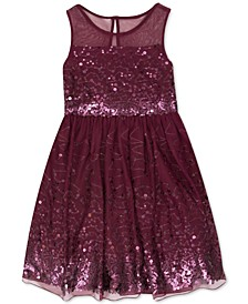 Big Girls Illusion Sequin Dress