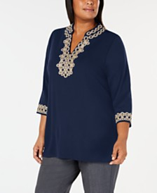 Charter Club Plus Size Lace Tunic Top, Created for Macy's