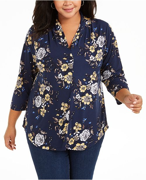 Charter Club Plus Size Floral-Print Pleated-Neck Top, Created For Macy's