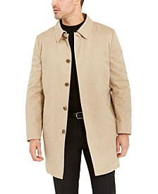 Orange Men's Slim-Fit Tan Raincoat with Faux Fur Lining