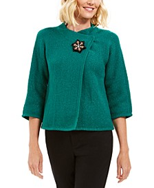 Metallic Textured Brooch Sweater Jacket, Created For Macy's