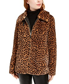 Juniors' Faux-Fur Zip-Front Coat