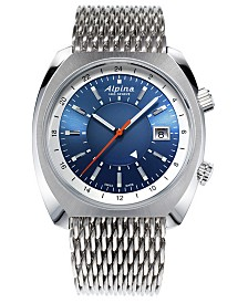 Alpina Men's Swiss Automatic Startimer Pilot Heritage GMT Stainless Steel Mesh Bracelet Watch 42x41mm