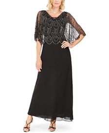 J Kara Embellished-Top Gown