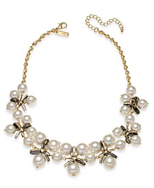 "INC Gold-Tone Imitation Pearl & Resin Disc Statement Necklace, 18"" + 3"" extender, Created For Macy's"