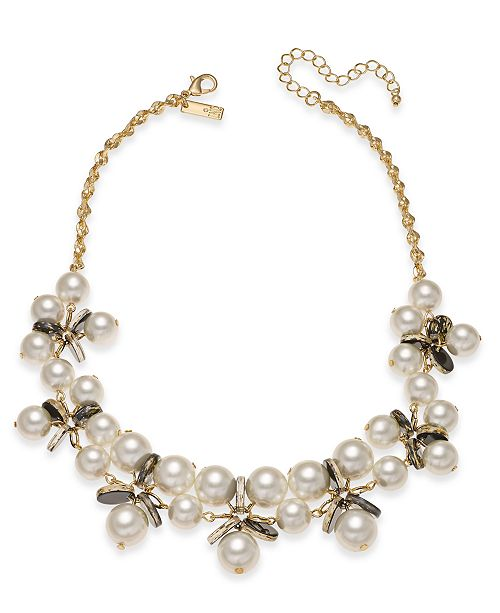 """INC International Concepts INC Gold-Tone Imitation Pearl & Resin Disc Statement Necklace, 18"""" + 3"""" extender, Created For Macy's"""