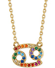 """Rainbow Cubic Zirconia Zodiac Pendant Necklace in Gold-Tone Fine Silver Plating, 16"""" + 2"""" extender"""