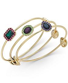 INC Gold-Tone 3-Pc. Set Multi-Stone Bangle Bracelets, Created For Macy's