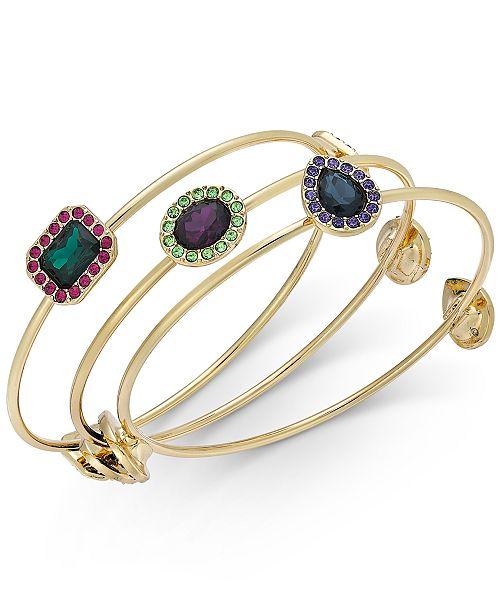 INC International Concepts INC Gold-Tone 3-Pc. Set Multi-Stone Bangle Bracelets, Created For Macy's
