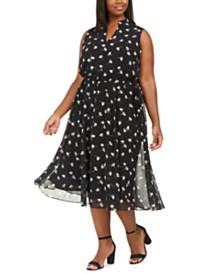 Anne Klein Plus Size Printed Drawstring A-Line Dress