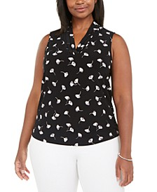 Plus Size Printed Triple-Pleat Top