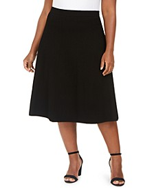 Plus Size Textured Seamed A-Line Skirt