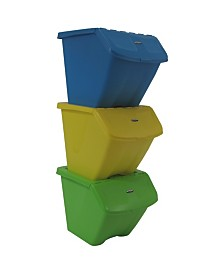 10 Gallon Stackable Shutter Bin 3 Piece Set