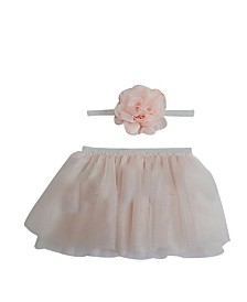 Popatu Baby Girl Tulle Tutu with Flower Headband