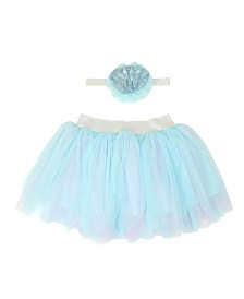 Popatu Baby Girl Streamer Tutu and Mermaid Headband Set