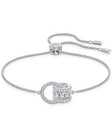 Swarovski Silver-Tone Crystal Interlocking Loops Slider Bracelet