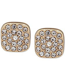 Gold-Tone Square Pavé Stud Earrings