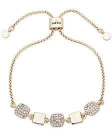 Gold-Tone Square Pavé Slider Bracelet
