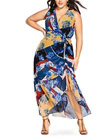 Trendy Plus Size Printed Faux-Wrap Maxi Dress