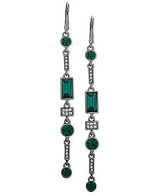 Hematite-Tone Crystal & Stone Linear Drop Earrings