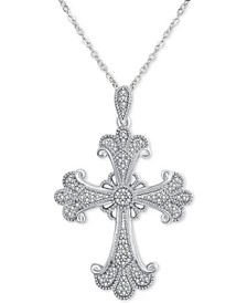 "Diamond Filigree Cross 18"" Pendant Necklace (1/6 ct. t.w.) in Sterling Silver"