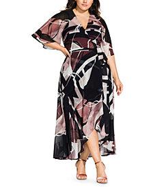 City Chic Trendy Plus Size Sahara Printed Wrap Maxi Dress