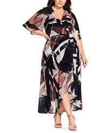 City Chic Trendy Plus Size Sahara Printed Wrap Maxi Dress