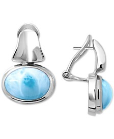 Larimar (8 x 12mm) Drop Earrings in Sterling Silver