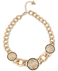 """Gold-Tone Chunky Link & Crystal Flower Collar Necklace, 16"""" + 2"""" extender"""