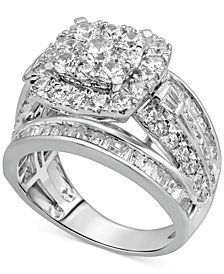 Diamond Halo Engagement Ring (3-1/3 ct. t.w.) in 14k White Gold