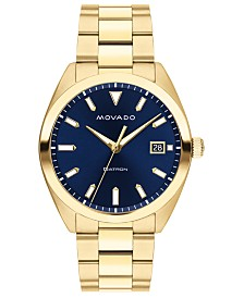 Movado Men's Swiss Heritage Gold Ion-Plated Stainless Steel Bracelet Watch 34mm