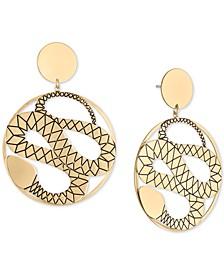 Gold-Tone Snake Disc Drop Earrings