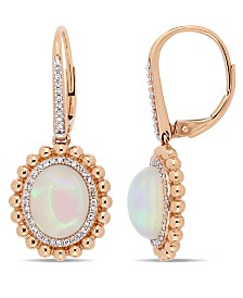 Oval-Cut Blue-Hued Opal (5-1/2 ct. t.w.) and Diamond (1/4 ct. t.w.) Halo Earrings in 14k Rose Gold
