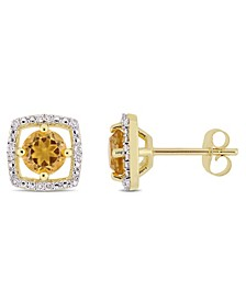 Citrine (7/8 ct. t.w.) and Diamond Accent Halo Square Stud Earrings in 10k Yellow Gold