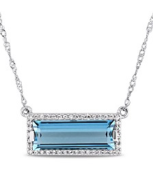 "Baguette Cut Blue Topaz (3 ct. t.w.) and Diamond (1/8 ct. t.w.) Halo 17"" Necklace in 14k White Gold"