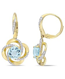 Blue Topaz (4-3/4 ct. t.w.), White Topaz (1/2 ct. t.w.) Interlaced Floral Swirl Earrings in 18k Yellow Gold Over Sterling Silver