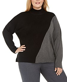 Plus Size Mock Neck Color Blocked Sweater